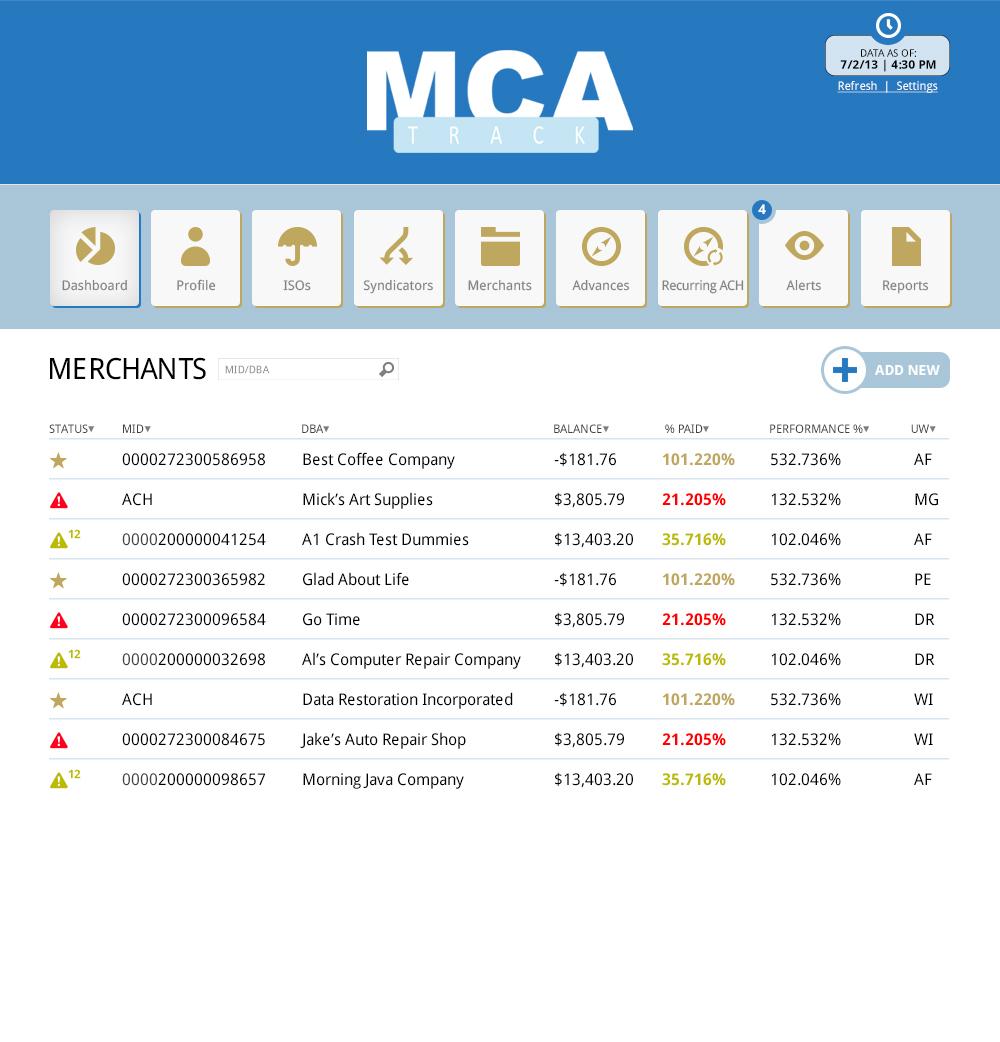 MCA Track Merchants - Benchmark Merchant Solutions
