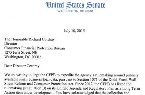 cory booker letter cfpb