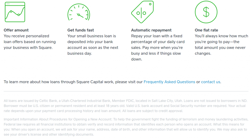 Square Capital Page