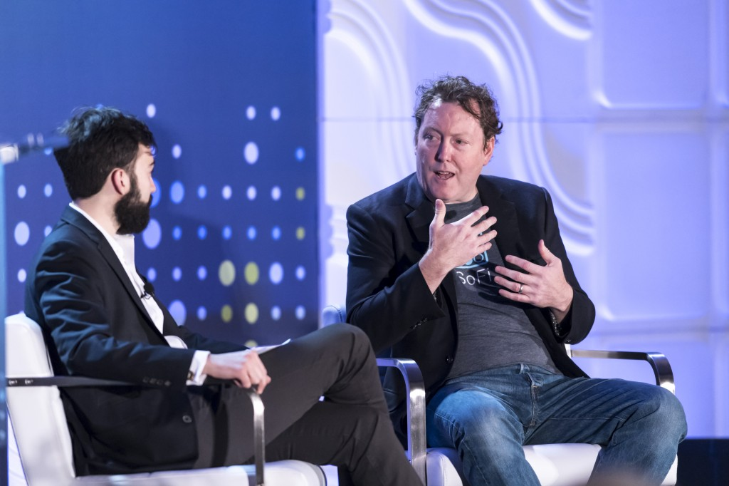 Fireside Chat with Mike Cagney of SoFI, moderated by Tellis Demos of the Wall Street Journal, at the LendIt USA 2016 conference in San Francisco, California, USA on April 12, 2016. (photo by Gabe Palacio)