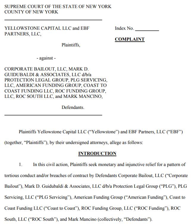 lawsuit against ISOs and debt settlement companies