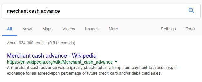 A search for merchant cash advance returns no paid ads