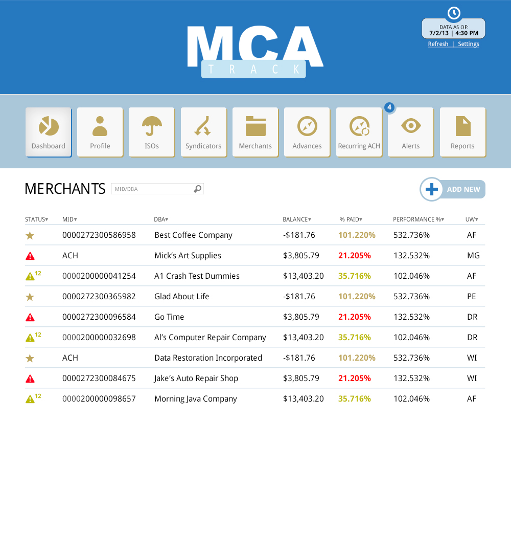 MCA Track Merchants - Benchmark Merchant Solutions