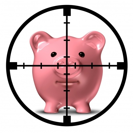 piggy bank in crosshairs