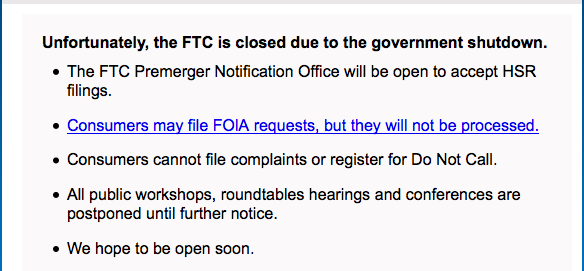 ftc.gov closed in government shutdown