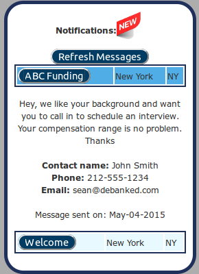 deBanked Jobs Message Sample