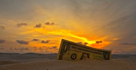 Money on the beach