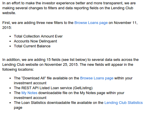 Lending Club New Data Fields