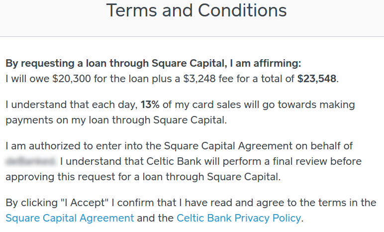 Square Capital Terms and Conditions