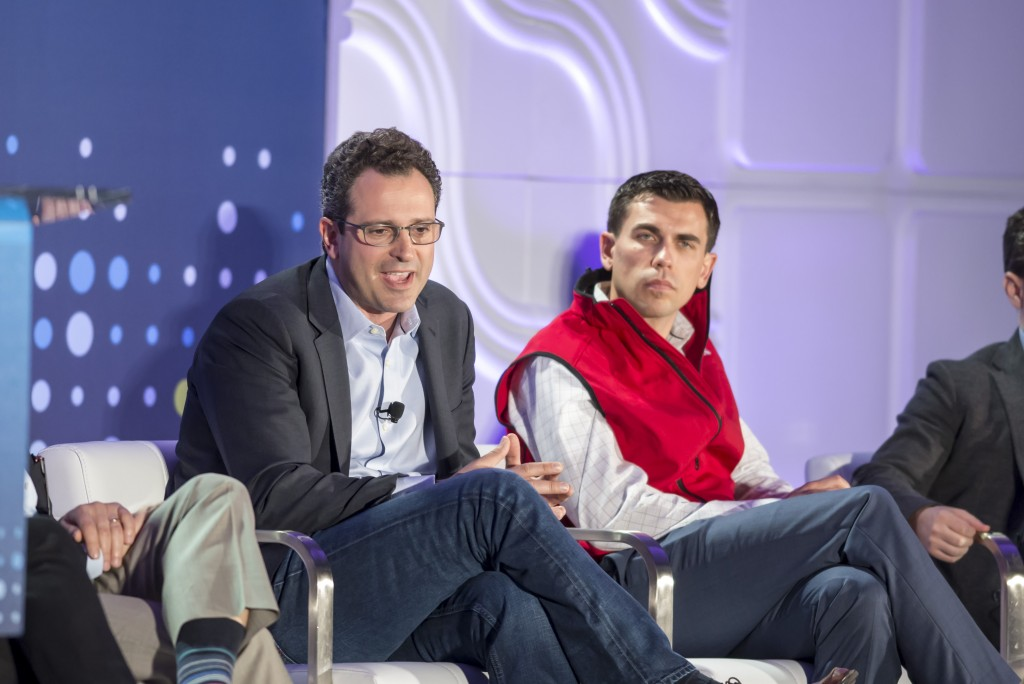 Noah Breslow, OnDeck and Andrew Deringer, Lending Club at the LendIt USA 2016 conference in San Francisco, California, USA on April 11, 2016. (photo by Gabe Palacio)