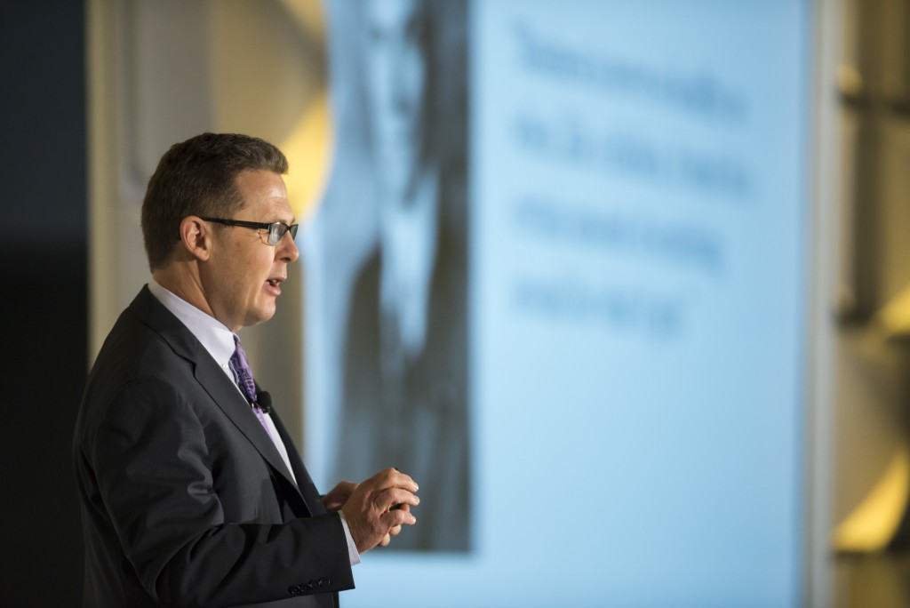 Peter Renton, Chairman and Co-Founder LendIt,  speaking to LendIt USA 2016 conference in San Francisco, California, USA on April 11, 2016. (photo by Gabe Palacio)