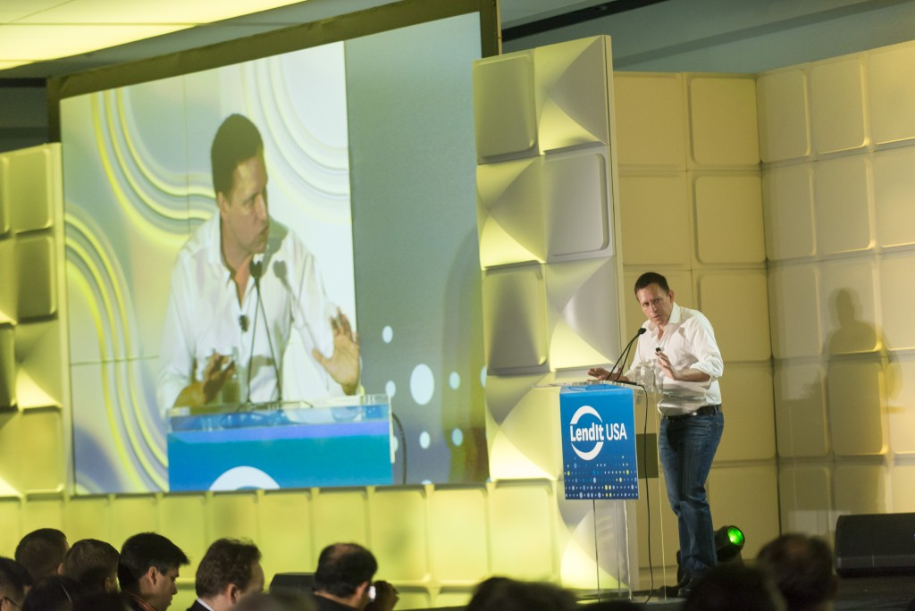 Keynote Presentation by Peter Thiel, Entrepreneur and Investor, founder of PayPal,  at the LendIt USA 2016 conference in San Francisco, California, USA on April 12, 2016. (photo by Gabe Palacio)
