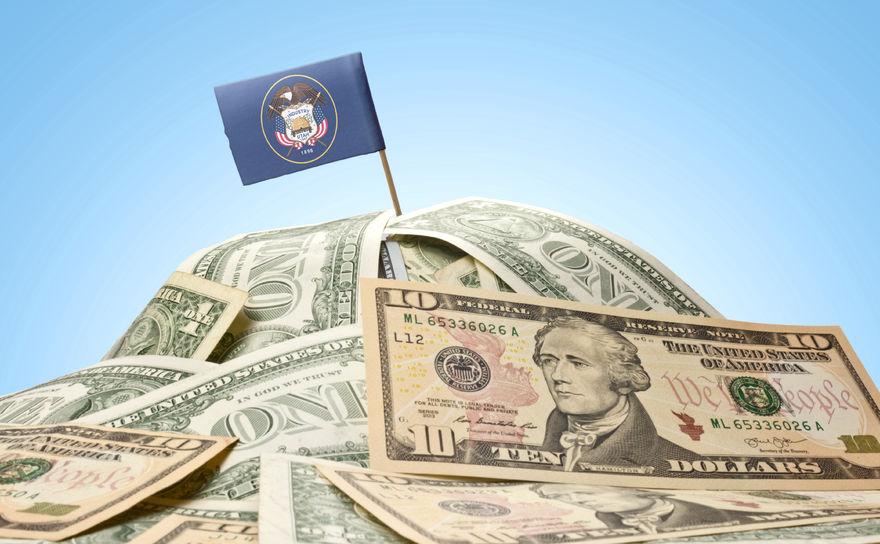 Utah flag on money