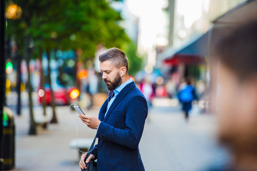 texting businessman