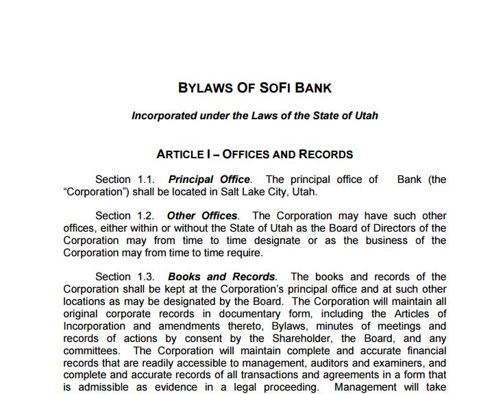 sofi bank bylaws