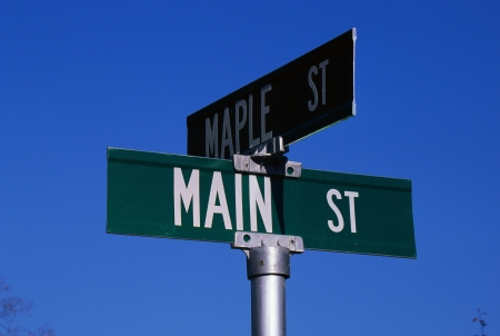 Corner of Maple Street and Main Street