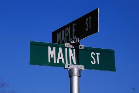 Corner of Maple Street and Main Street