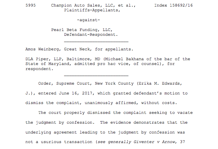Champion Auto Sales, LLC et al. v  Pearl Beta Funding, LLC