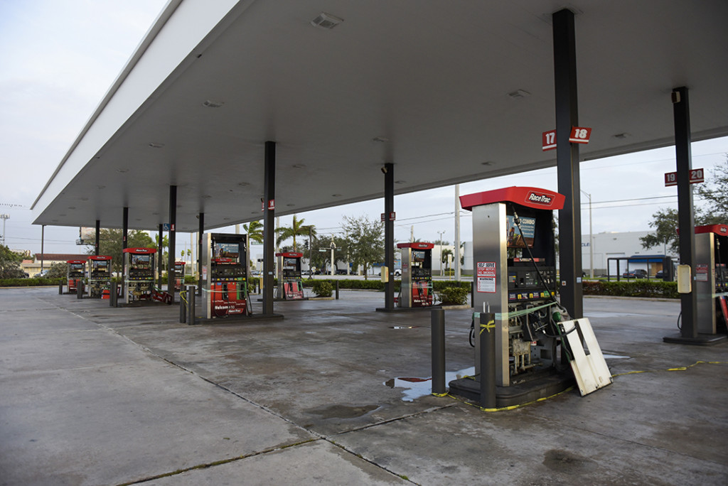 Gas station with storm damage