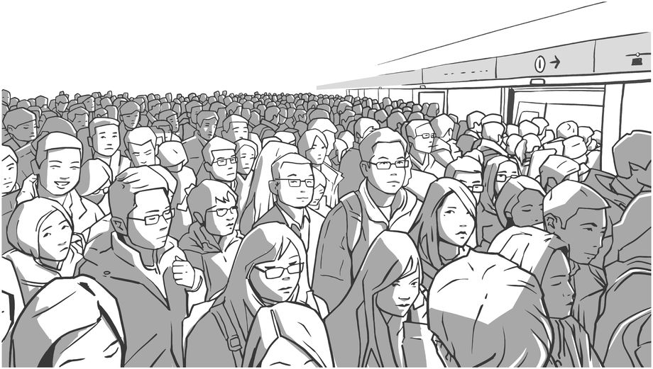 China crowd illustration