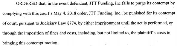 JTT Funding Order