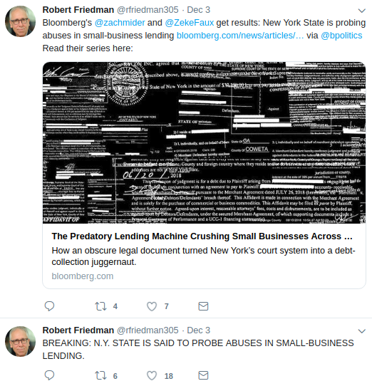 Robert Friedman Tweets Bloomberg
