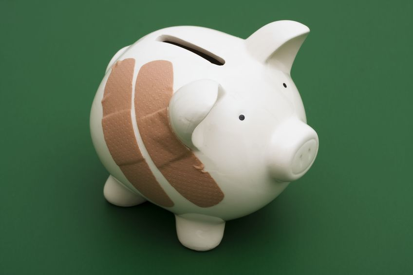 damaged piggy bank