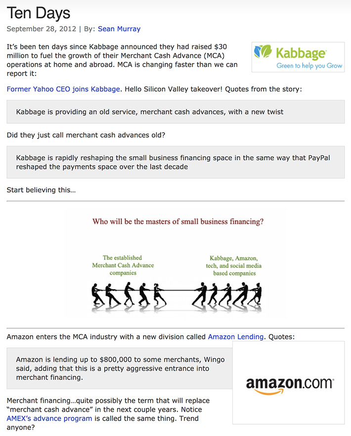 kabbage amazon story 2012