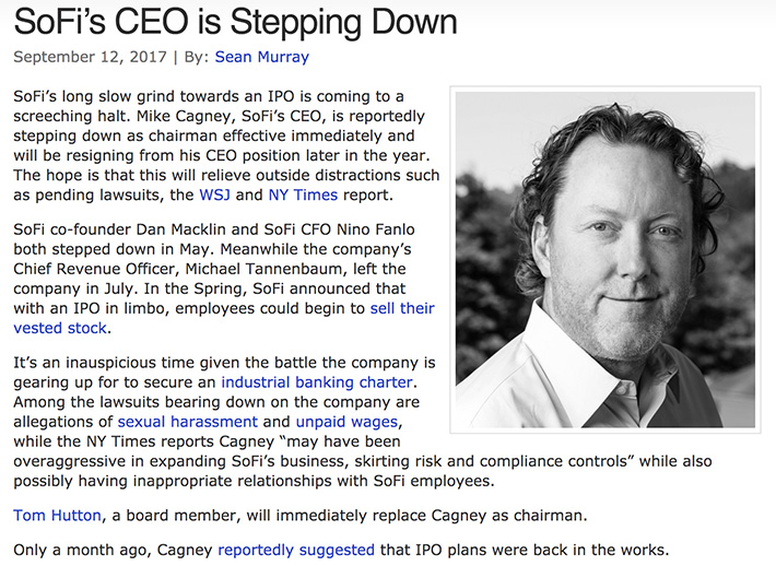 sofi ceo steps down