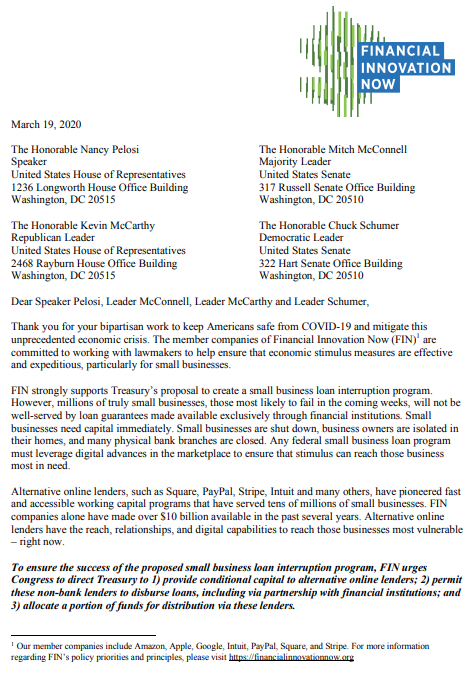 financial innovation now letter to congress