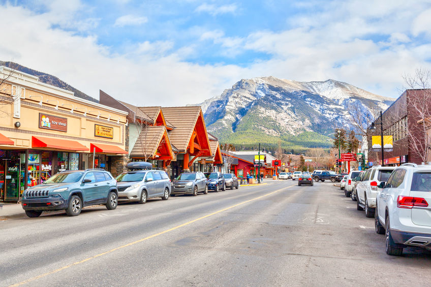 Town of Canmore in the Canadian Rockies of Alberta, Canada