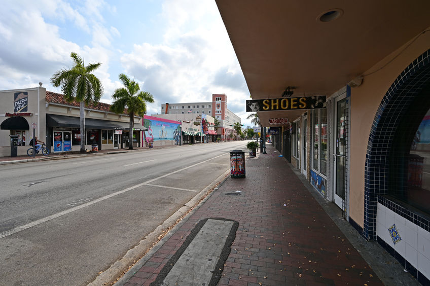 Calle Ocho - Eigth Street - in Miami, Florida under coronavirus hotel, bar and restaurant closures.
