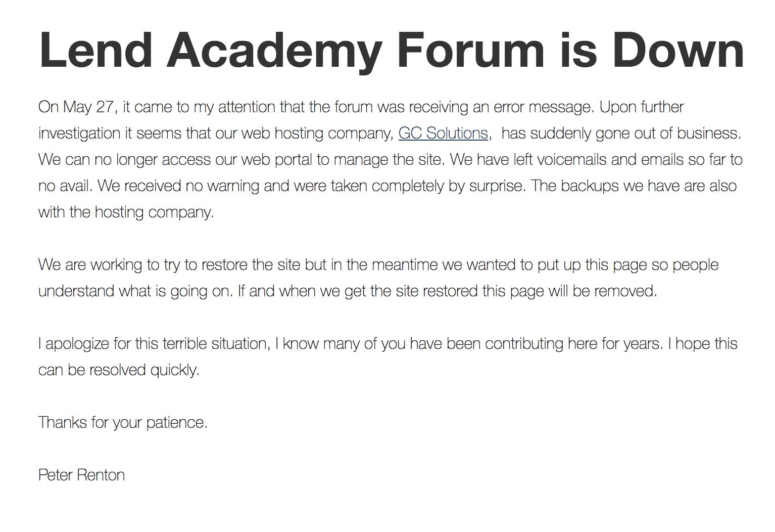 forum down